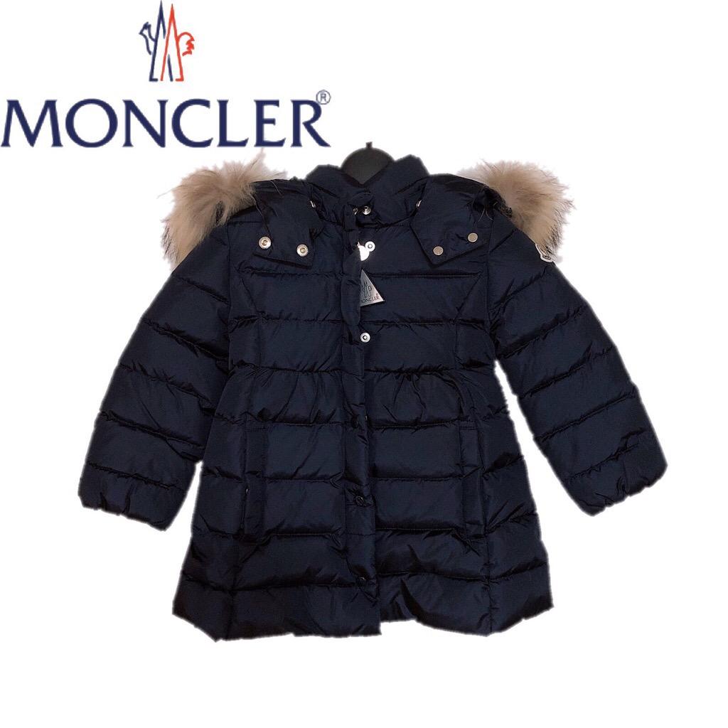 【新品】確実正規品 MONCLER モンクレール ファーフード付 ダウンジャケット キッズ ネイビー 紺 2A 92cm