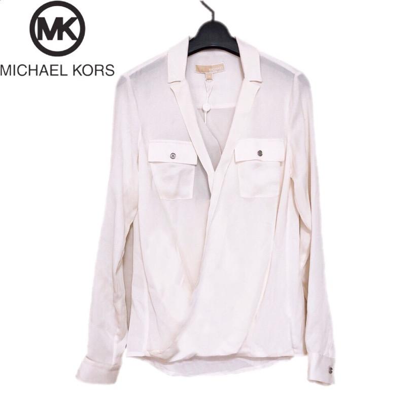 【新品】確実正規品 MICHAEL KORS マイケルコース Vネック 襟付き ブラウス シャツ ホワイト 白 レディース