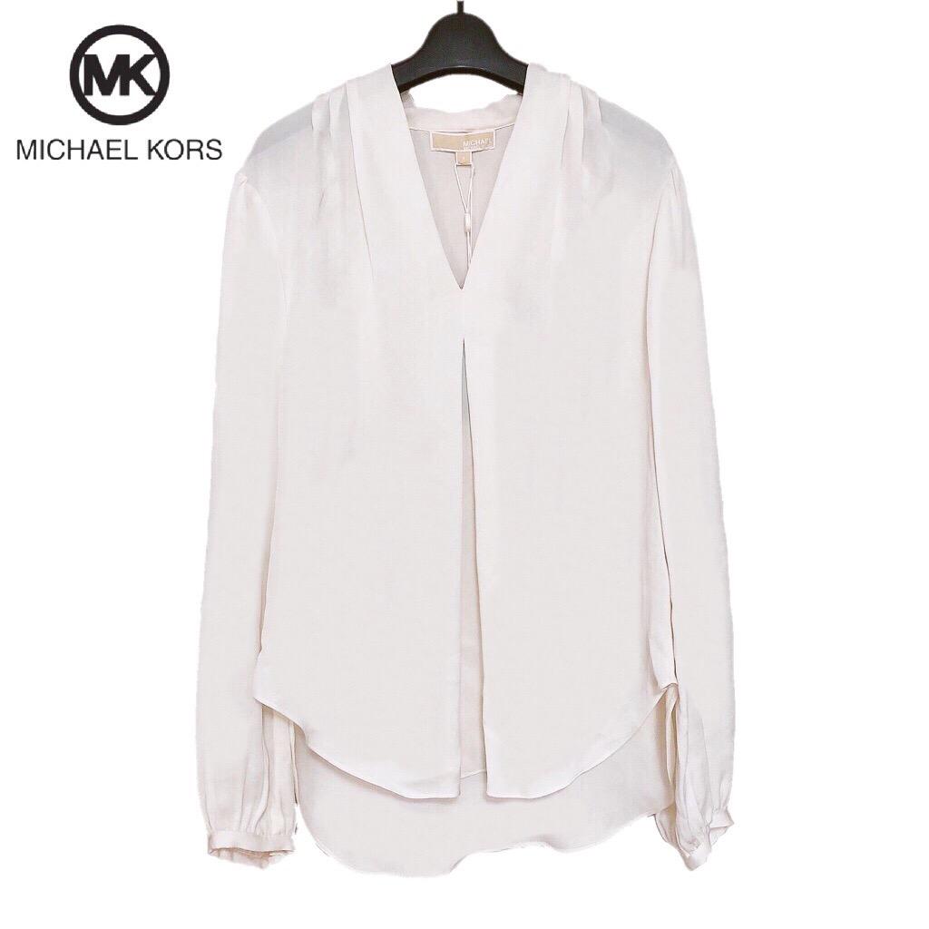 【新品】確実正規品 MICHAEL KORS マイケルコース Vネック ブラウス ホワイト ネイビー ブラック 白 紺 黒レディース