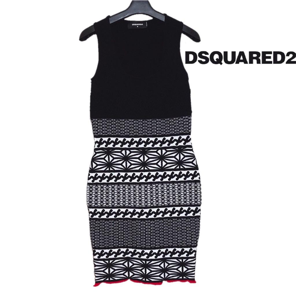 【新品】確実正規品 DSQUARED2 ディースクエアード ワンピース ブラック 黒 レディース M