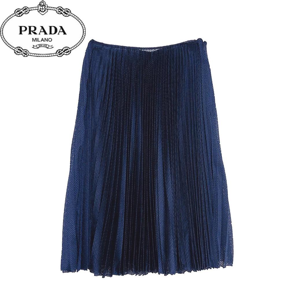 IT40 PRADA プラダ 【新品】確実正規品 レディース 紺 Mサイズ プリーツ スカート ネイビー