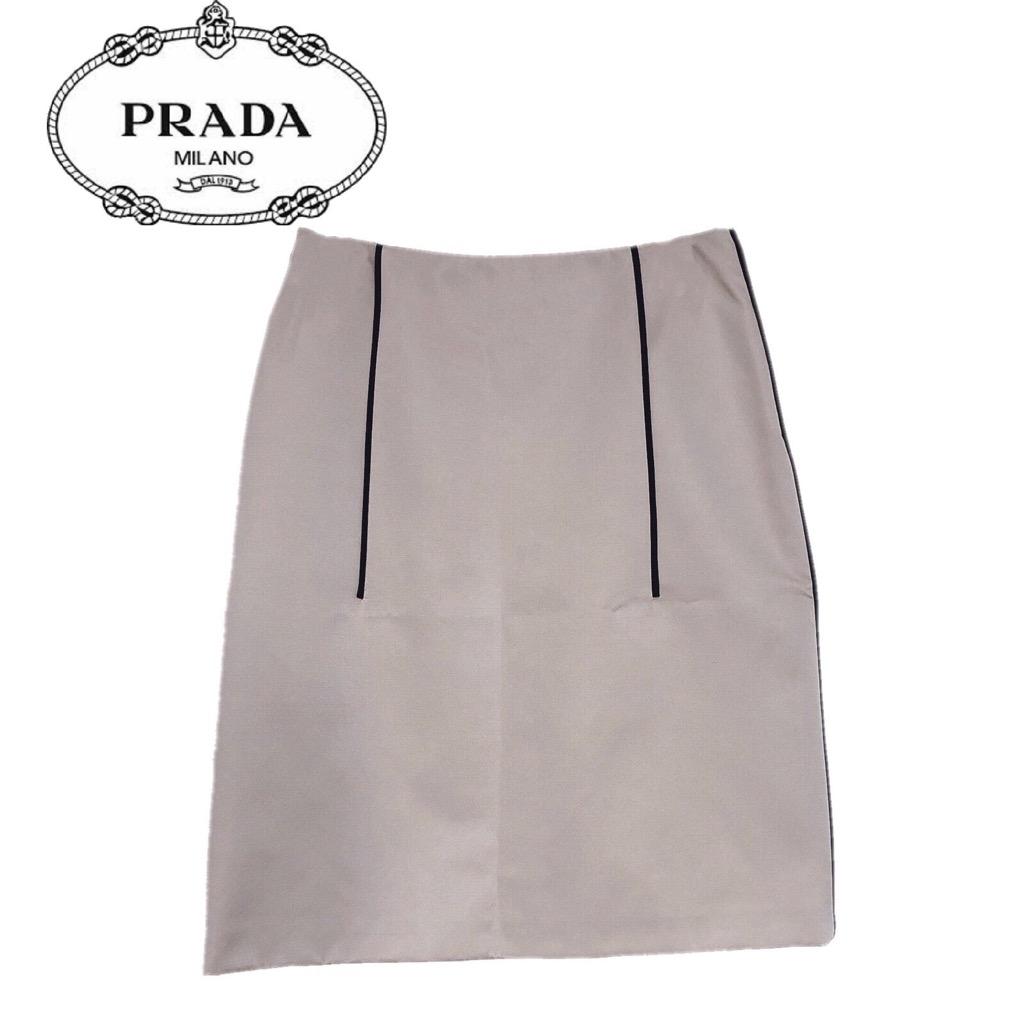 【新品】確実正規品 PRADA プラダ 膝丈 スカート ベージュ 肌 レディース
