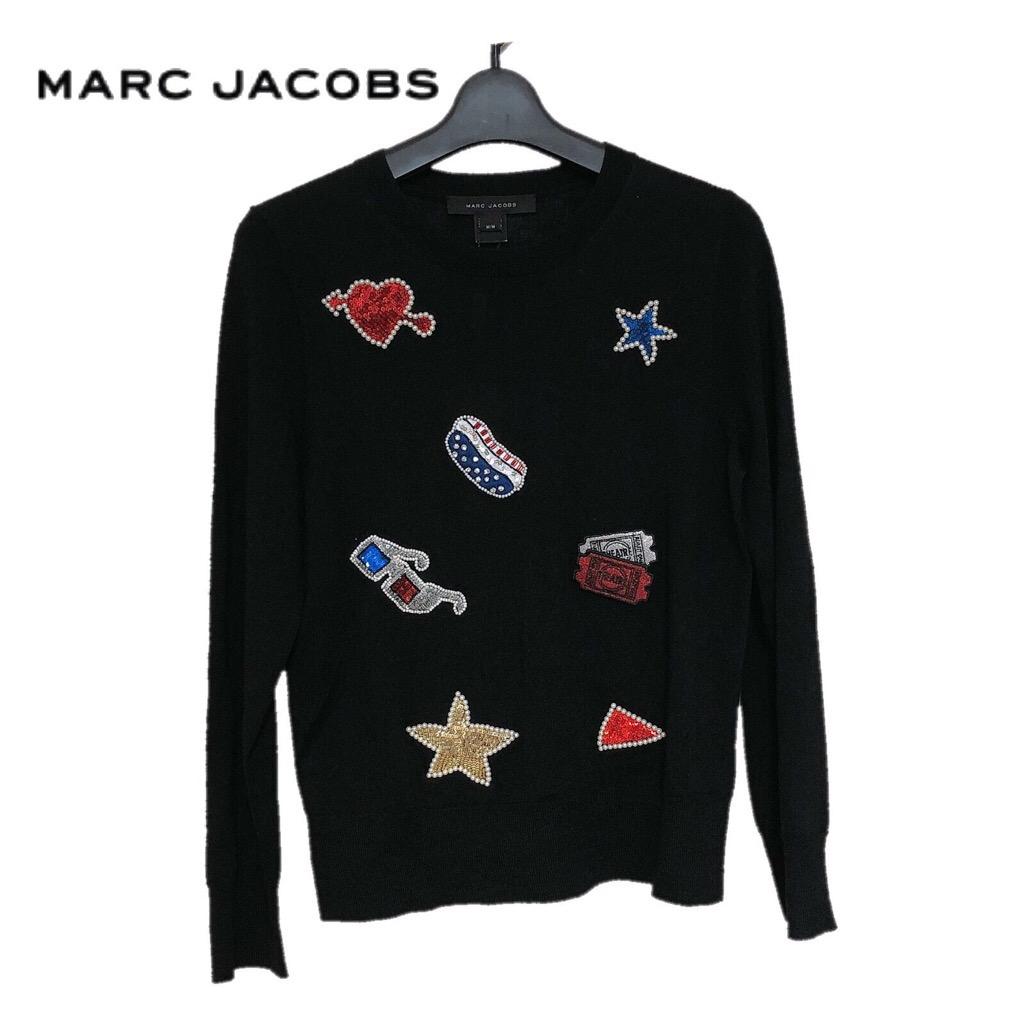 【新品】確実正規品 MARC JACOBS スパンコール ワッペン ニット ブラック 黒 レディース M