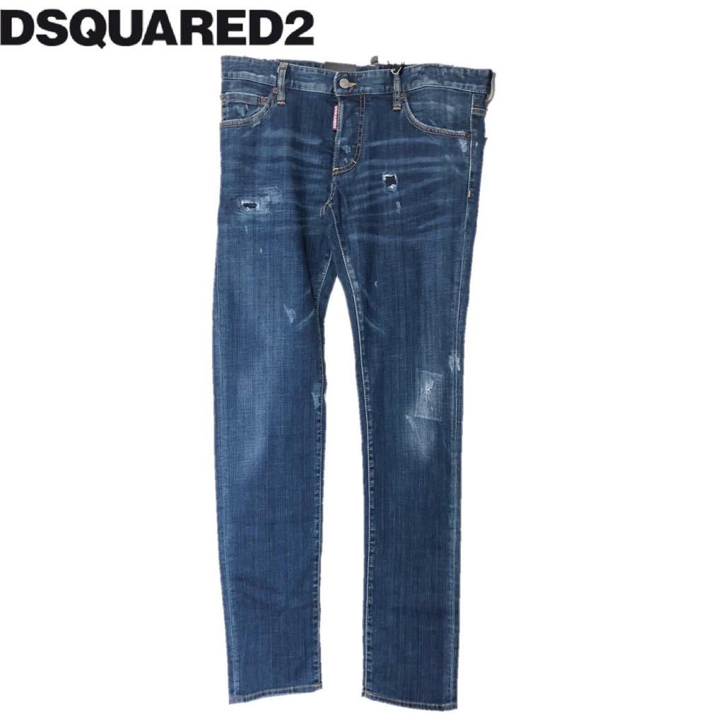 新品 確実正規品 DSQUARED2 ディースクエアード SLIM JEAN スリム ジーンズ ネイビー 紺 メンズ TG50 LY6ybgv7f