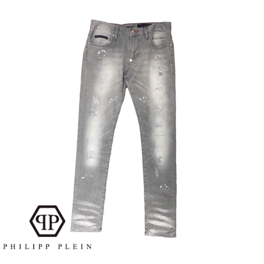 【新品】確実正規品 PHILIPP PLEIN フィリッププレイン ライトグレー ジーンズ slimfit RockDIAMOND メンズ 30 M