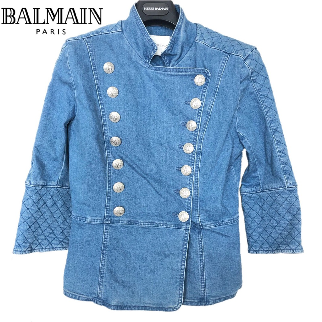 【新品】確実正規品 BALMAIN ピエール バルマン キルティング ミリタリージャケット ブルー 青 レディース TG40 M