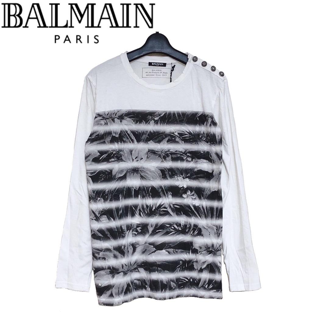 【新品】確実正規品 BALMAIN バルマン フローラル ボーダー Tシャツ シャツ 長袖 ホワイト ブラック 白 黒 メンズ S