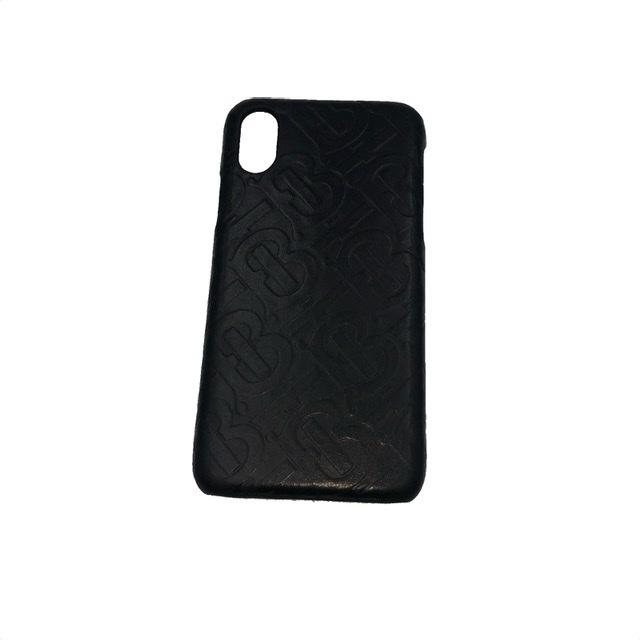 BURBERRY バーバリー iPhone X XS ケース モノグラム レザー ロゴ ブラック 美品【中古】
