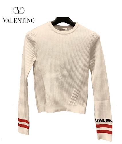 VALENTINO(バレンティノ) 長袖セーター サイズS レディース PB3KC0663T9 白×レッド×黒 ボーダー