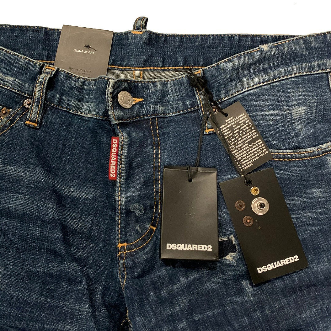 新品 確実正規品 DSQUARED2 ディースクエアード SLIM JEAN スリム ジーンズ ネイビー 紺 メンズ TG50 LCWQdxBoer