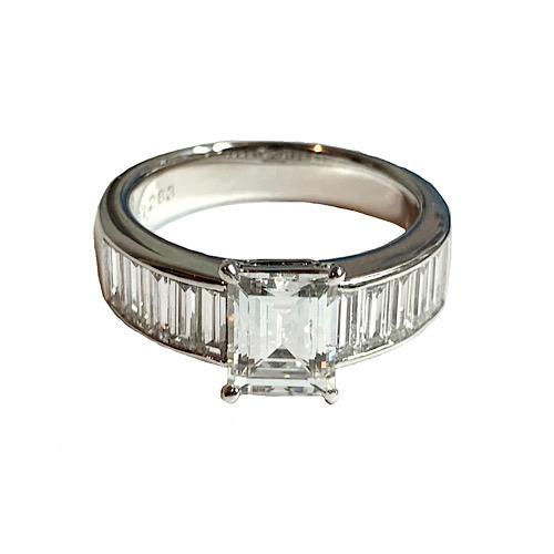 【美品】ダイヤモンド 1.283ct バゲットカット Baguette Cut バゲットダイヤ リング 指輪 プラチナ Pt900 13号 鑑定書付き