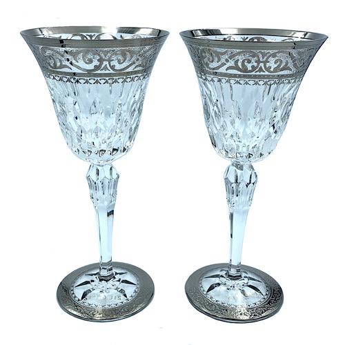 【極美品】 SAINT LOUIS サンルイ グラス ワイングラス シルバー 銀 ペア クリア クリスタル セット