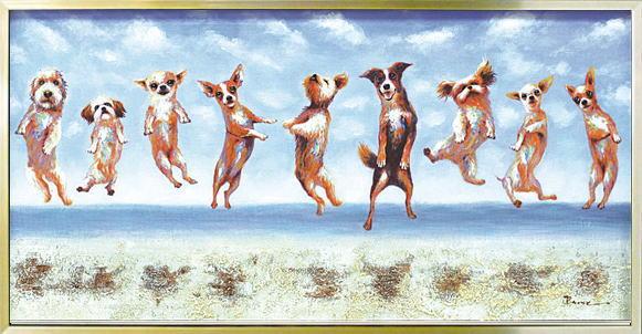 オイルペイントアート ジャンピング ドッグスOP-22024御祝 結婚祝い 記念品 ギフト プレゼント 贈答品 開店祝い 新築祝い 贈り物 インテリア【楽ギフ_包装選択】【楽ギフ_メッセ】