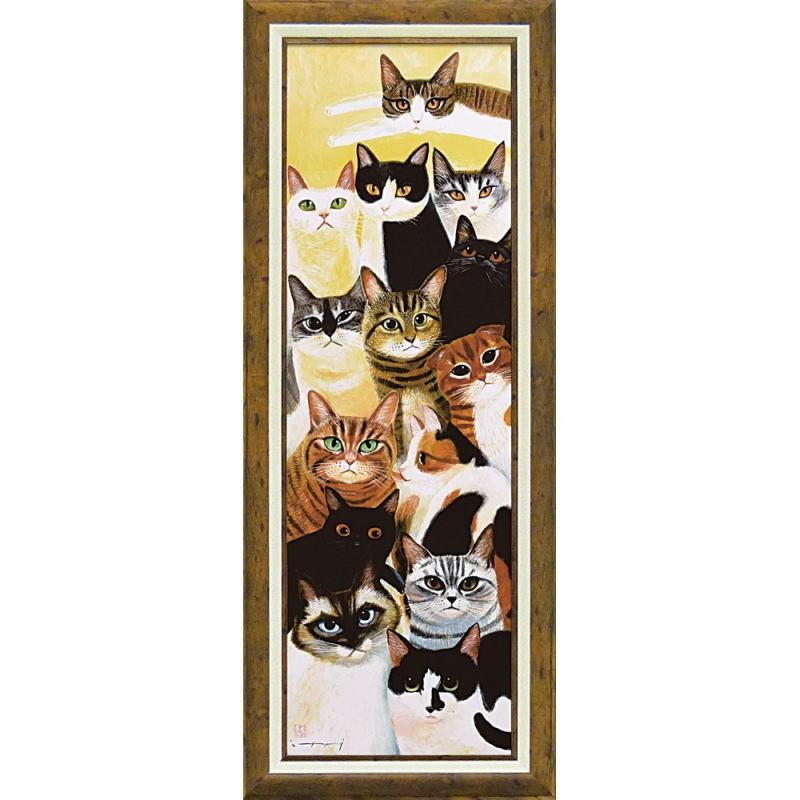 送料無料 水墨画家 糸井忠晴 お金を節約 アートフレーム Lサイズ 額 ねこ集会 絵 安心と信頼 猫