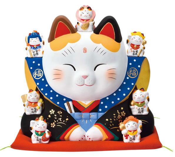 【送料無料】瀬戸焼 錦彩七福神福助福招き猫 10号 開運 まねきねこ お祝 開店祝い 新築祝い プレゼント 記念品 贈答品におすすめ