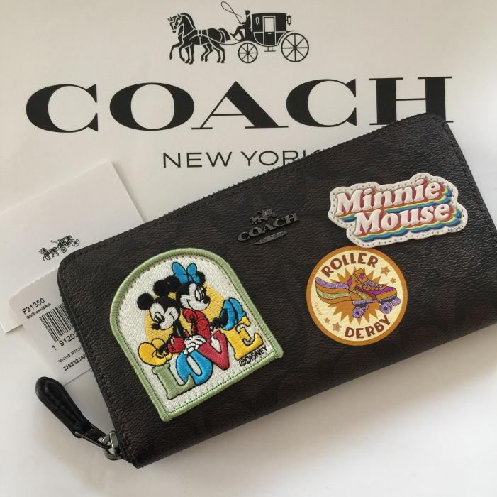 【日本在庫・即発送】コーチ×ディズニー Disney x Coach シグネチャー柄 ミニーマウスのパッチ長財布 レディス長財布 F31350