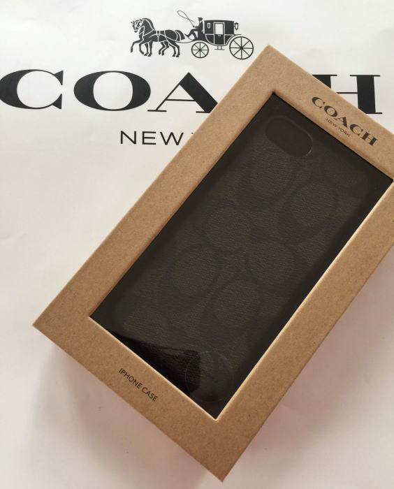 【日本在庫・即発送】COACH コーチ シグネチャー柄 iPhone 8 /iPhone7 ケース アイフォン7/8ケース(兼用) F27296 マホガニー 濃茶