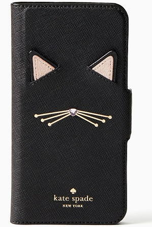【日本在庫・即発送】kate spade ケイトスペード アイフォンケース 7/8 手帳型 アイフォン ケース キャット アップリケ フォリオ 黒猫