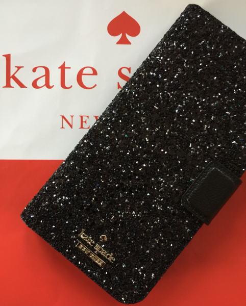 【日本在庫・即発送】ケイトスペード アイフォンケース 8プラス 7プラス iPhone8Plus/7Plus 手帳型 キラキラ 黒ラメ Kate spade WIRU0965