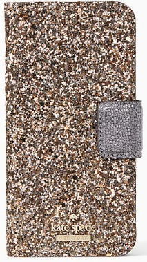 【日本在庫・即発送】ケイトスペード アイフォンケース アイフォン8 アイフォン7 iPhone 7/8手帳型 キラキラ ゴールドラメ Kate spade WIRU0964