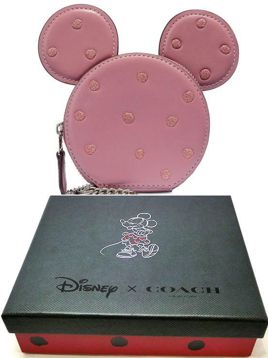 コーチ COACH ミニ財布 ミニーマウス コインケース COACH×DISENY Boxed Minnie Mouse Coin Case ミニーマウス キラキラドッド ギフトbox付き ピンク 37539B【日本在庫・即発送】