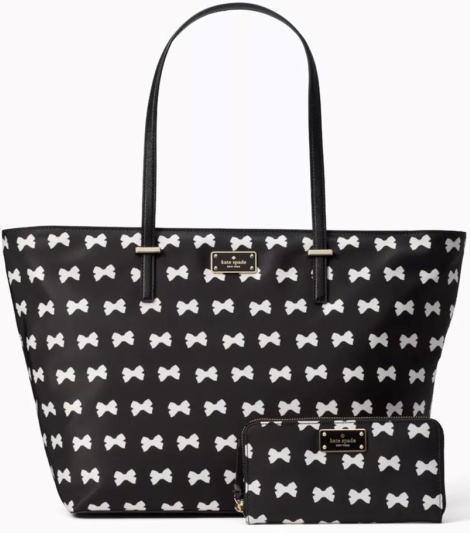 リボンプリント Spade トートバック 黒/べージュ ケイトスペード Kate 財布 バッグ&お財布のスペーシャルセット WLRU5120 2点セット