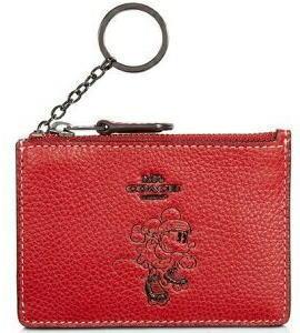 コーチ コラボ ミニ-マウス ID ケース コインケース ギフトbox付き 赤 COACH×DISNEY 限定品 37536B 【日本在庫・即発送】