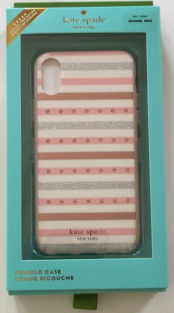 ケイトスペード アイフォンケース XSMAX iPhone XS MAX対応 ジェエル ストライプ ピンク WIRU1005【即発送】