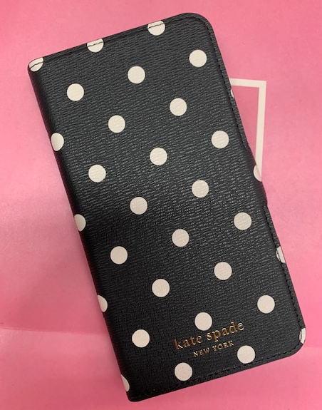 ケイトスペード Kate spade 手帳型 アイフォンケース XSマックス iPhone XSMAX 手帳型と単品使用可!2way ドット ブラック/ホワイト 8aru6855