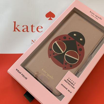 ケイトスペード アイフォンケース iPhoneX XS レターパック 送料無料 即発送 Kate spade テントウムシの手帳型 可愛い 手帳型 iPhone 8ARU6274 人気 低価格 おすすめ Xs X ピンク系