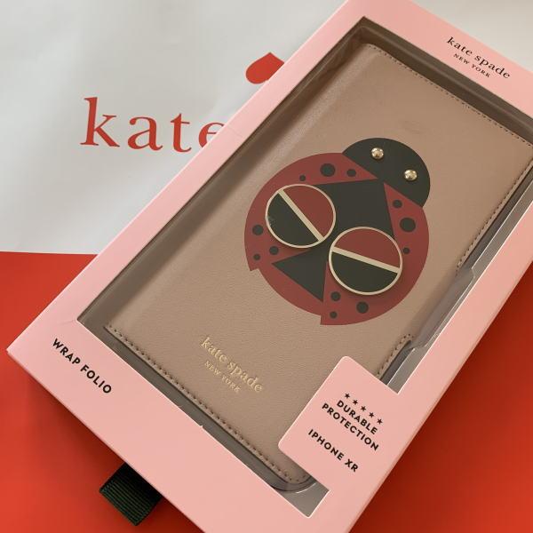 ケイトスペード 未使用品 アイフォンケース iPhone XR レターパック 送料無料 即発送 Kate spade 可愛い ピンク系 手帳型 8ARU6268 テントウムシの手帳型 引出物