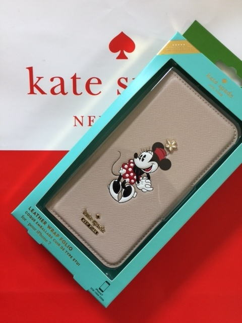iPhone7/iPhone8 スマートフォンケース kate spade アイフォン7 アイフォン8 ケース 手帳型 ミニーマウス アップリケ フォリオ  8ARU2063 【日本在庫】【レターパック・送料無料】