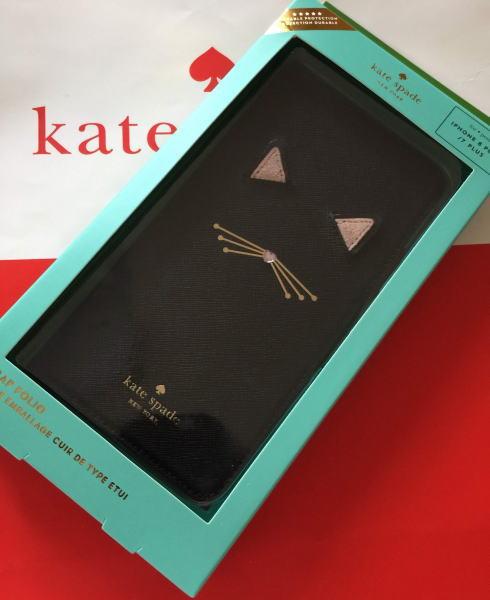 ケイトスペード アイフォンケース 7プラス 8プラスkate spade 7plus/8plus 手帳型 アイフォン ケース キャット アップリケ フォリオ 黒猫 8aru3022