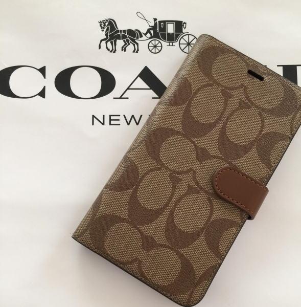 【日本在庫・即発送】COACH コーチ iPhone XS MAX ケース ブラック アイフォンXS MAX ケース シグネチャー柄手帳型 カード入 F68426
