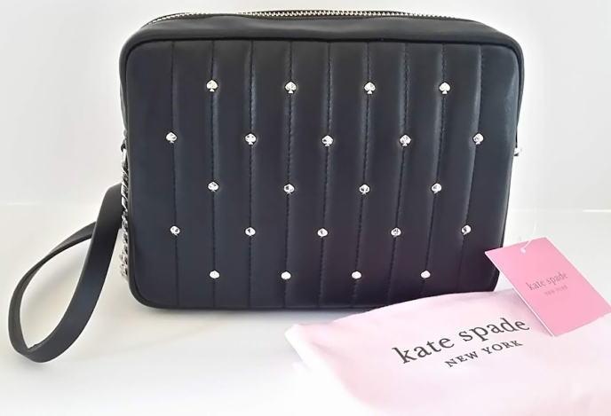 斜め掛け 【即発送】ケイトスペード spade 黒 AMELIA PXRUA175 Kate カメラレザーショルダーバッグ
