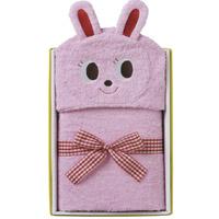 出産祝いギフトにおすすめ! ミキハウス フード付きバスタオル ピンク(ウサギ)