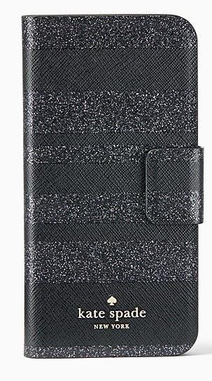 【日本在庫・即発送】ケイトスペード iphone 7 Plus/8 Plus  ケース 手帳型 アイフォン7プラス アイフォン8プラス ケース キラキラグリッター ストライプ 黒 Kate spade WIRU0645