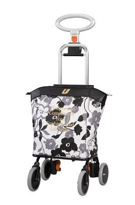 アップライン(4輪タイプショッピングカート) UL-0218 花柄ブラック [UL0218fbk]【敬老の日】