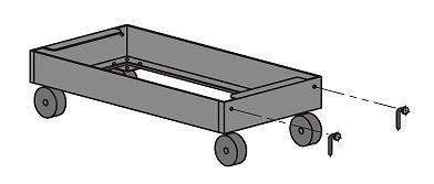 【代引き不可】 中量ラックキャリー C-40支柱タイプ MDS1545G