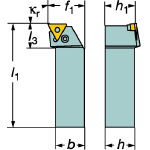 サンドビック T-Max P ネガチップ用シャンクバイト PTFNL2525M22 [136-9385] 【TA式旋削工具】[PTFNL 2525M 22]