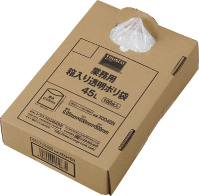 送料無料 合計10 直営ストア 贈呈 000円以上で代引き手数料無料 TRUSCO トラスコ中山 工具が激安特価 TRUSCO工具 格安特価 TRUSCO 100枚入 X0045N 0.05X45L ゴミ袋 353-9989 箱入り 業務用ポリ袋 透明