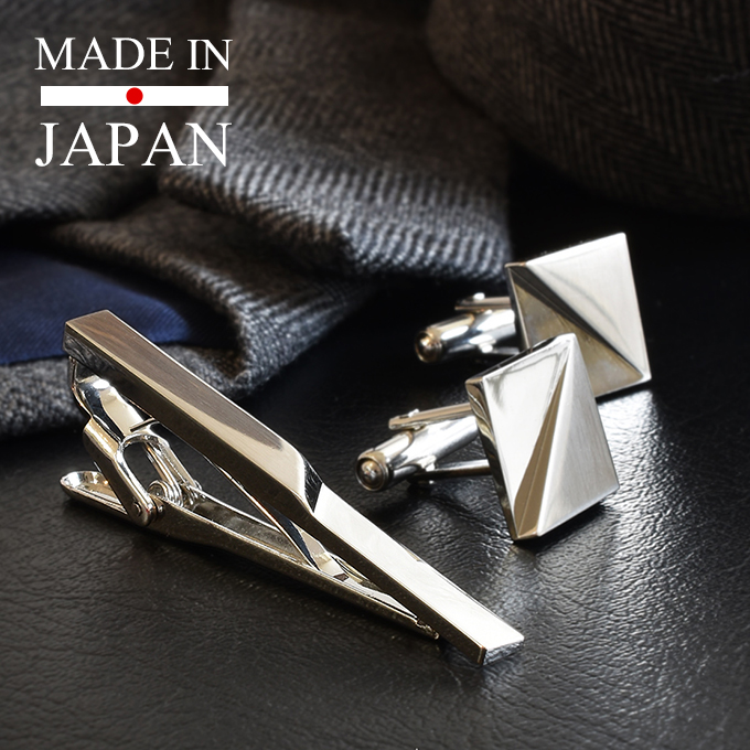 シンプルなデザインのネクタイピンとカフスのセット タバラット セール特別価格 ネクタイピン カフス セット Kts-003 日本製 敬老の日 真鍮 送料無料新品 シンプル