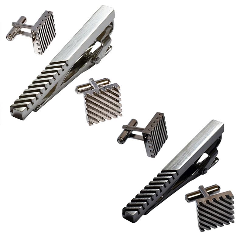 [タバラット]ネクタイピン カフス セット 日本製 ストライプ 真鍮 シルバー ブラック Kts-004