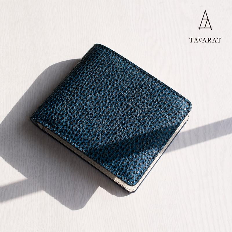 [タバラット]財布 二つ折り メンズ ブランド 日本製 藍染 黒桟革 極 高級 ネイビー Tps-083 ラッピング無料