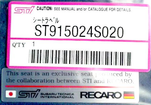取寄品 お取り寄せの為 納期がかかります SALENEW大人気 正規品 純正品 ST915024S020 STI-スバル STI ステッカー SUBARU純正部品 シートラベルシール エンブレム 通信販売 RECARO メール便OK