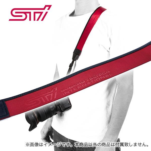 STSG19100380【スバル】STIカメラストラップ ナイロン+本革のチェリーレッドカラーカメラネックストラップ ショルダーストラップ STIグッズ