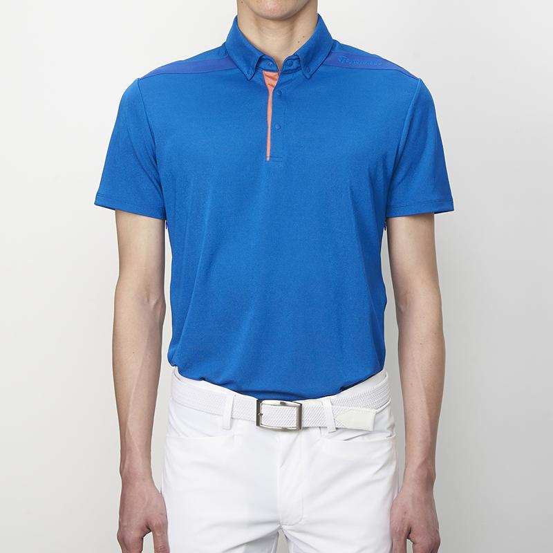 テーラーメイドゴルフ(TaylorMade Golf) ベンチレーション・ボタンダウンS/Sポロ/ブルー /KL900 /N64906