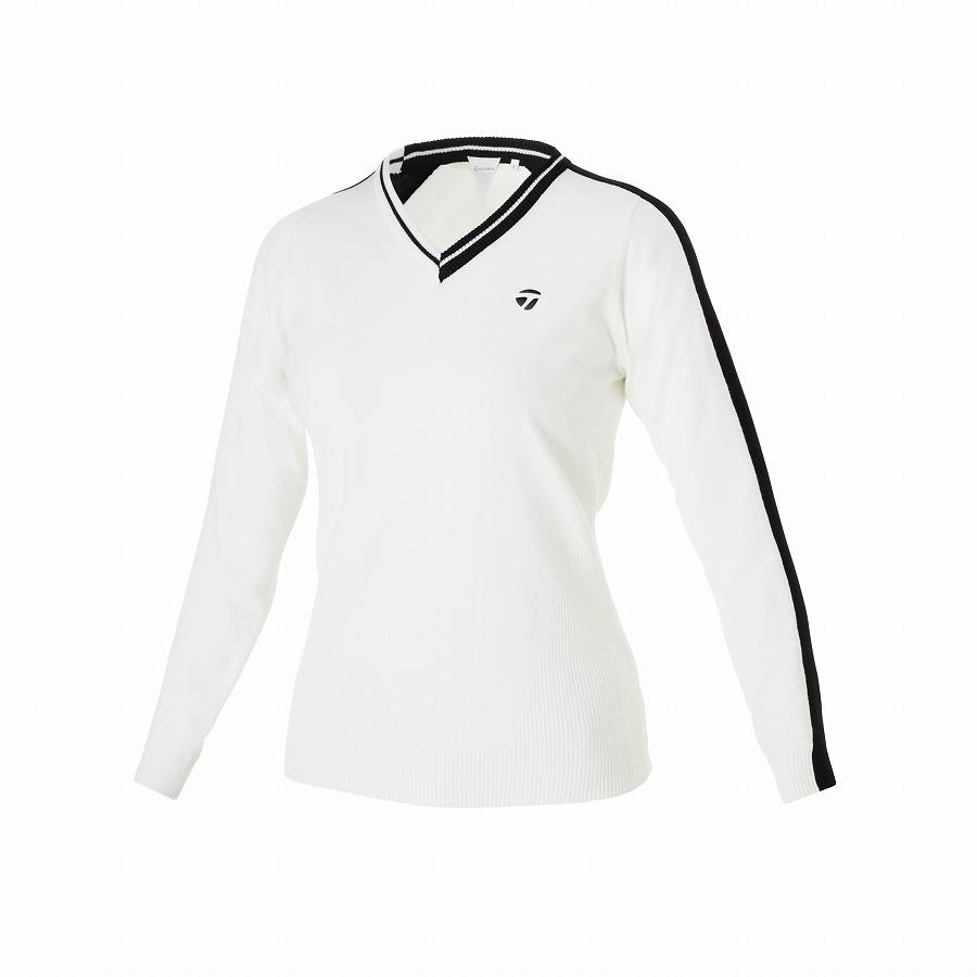 送料無料 激安 お買い得 キ゛フト 公式ショップ 驚きの値段で TaylorMade Golf テーラーメイド ホワイト ウィメンズ ベーシックVネックセーター ゴルフ