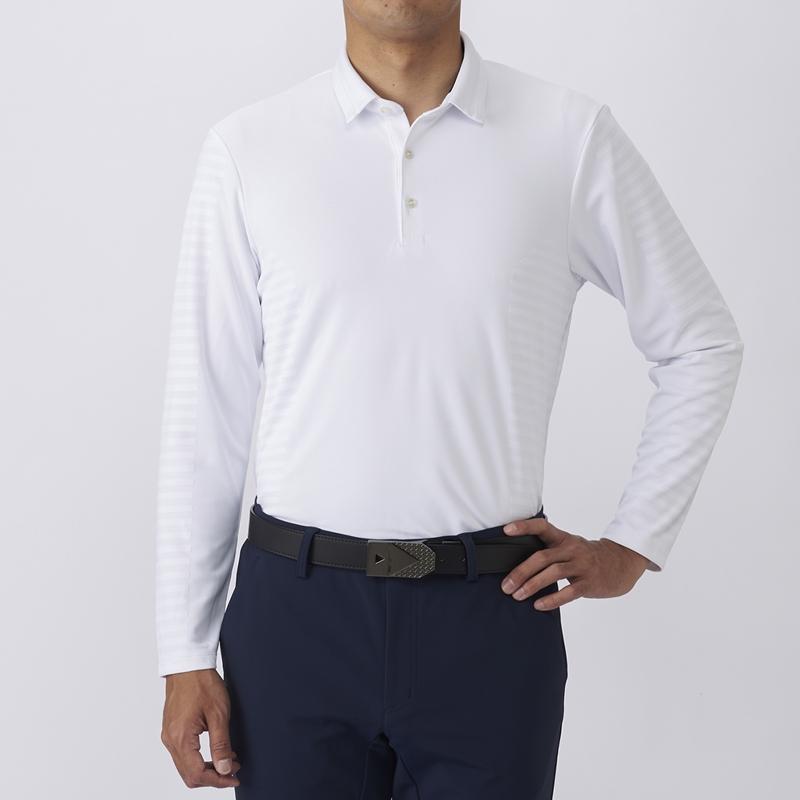 テーラーメイドゴルフ(TaylorMade Golf) テイラード ストレッチジャカードL/Sポロ/ホワイト /KX673 /U23605