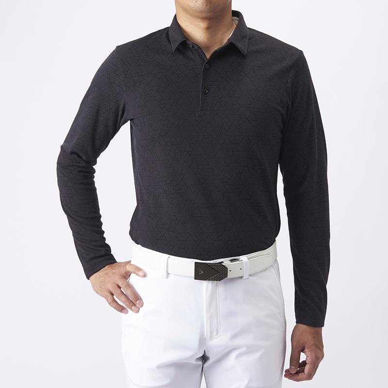テーラーメイドゴルフ(TaylorMade Golf) テイラード グラフィックジャカードL/Sポロ/ブラック /KX674 /U23609